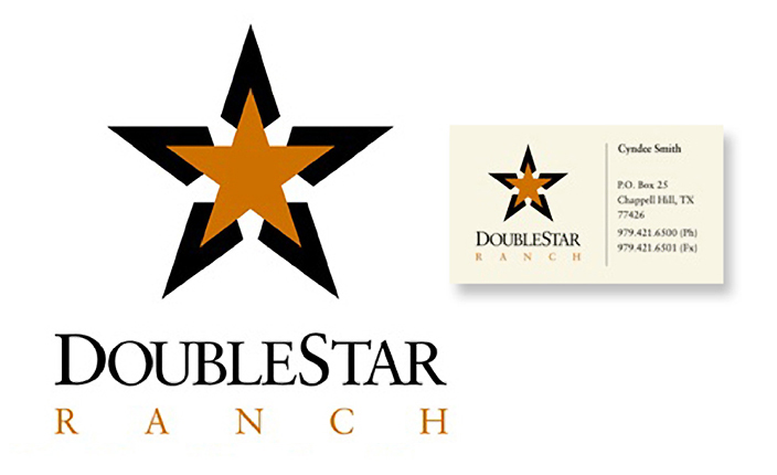 Logo design and business card design:  Double Star Ranch